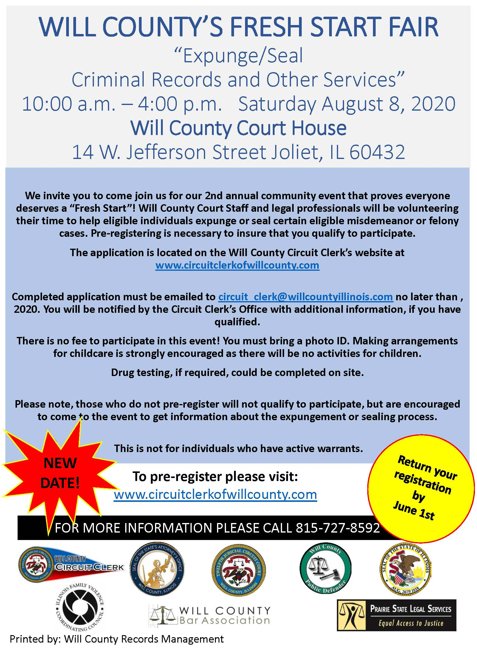 Will County Fresh Start Fair flyer